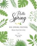 Ciao insegna festiva della primavera con il fiore di stagione di primavera La cartolina d'auguri floreale per i temi di festa del royalty illustrazione gratis