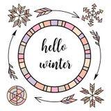 Ciao inverno Retro elementi tipografici d'annata di progettazione di colore Frecce, abete, albero di Natale, guanti, sci, agrifog royalty illustrazione gratis