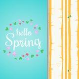 Ciao iscrizione della molla con i fiori e le foglie piani Fondo della foresta della betulla della primavera Fotografie Stock