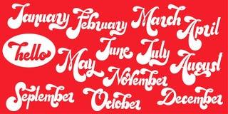 Ciao iscrizione di mese tipografia 70s Immagine Stock