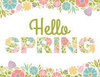 Ciao la primavera fiorisce il fondo del testo Fotografie Stock Libere da Diritti