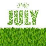 Ciao luglio Fonte decorativa fatta nei turbinii e negli elementi floreali Fotografia Stock Libera da Diritti
