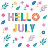 Ciao luglio Fonte geometrica d'avanguardia Testo, fogliame e fiori isolati su un fondo bianco Immagine Stock