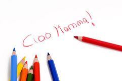 Ciao mamma drawing. A child wrote ciao mamma Royalty Free Stock Photo