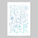 Ciao manifesto dell'iscrizione di estate Priorità bassa tipografica Fotografia Stock