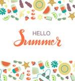 Ciao manifesto dell'iscrizione di tipografia di estate schizzato mano Fotografie Stock