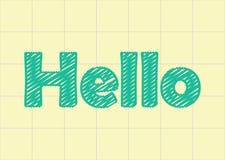 Ciao parola nella carta del taccuino, graffio royalty illustrazione gratis
