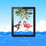 Ciao partito della spiaggia di estate Isola tropicale La foresta pluviale tropicale della giungla pianta gli uccelli dei fiori, i illustrazione vettoriale