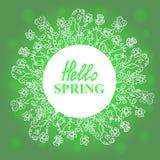 Ciao primavera Corona floreale di scarabocchi Progettazione di massima per una vendita stagionale, cartoline d'auguri, autoadesiv Immagine Stock Libera da Diritti
