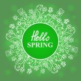 Ciao primavera Fiorisca il blocco per grafici Progettazione di massima per una vendita stagionale, cartoline d'auguri, autoadesiv Fotografia Stock