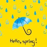 Ciao primavera Illustrazione di vettore con l'ombrello e le gocce dell'acquerello Fotografia Stock