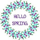 Ciao primavera, pagina rotonda 1-2 illustrazione di stock
