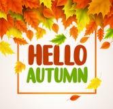 Ciao progettazione dell'insegna di vettore di autunno Saluti del testo per la stagione di caduta con le collezioni illustrazione vettoriale