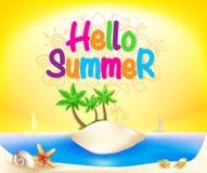 Ciao progettazione variopinta di estate in spiaggia dell'isola con le conchiglie Fotografia Stock