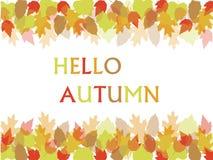 Ciao scrittura di caduta di autunno Immagini Stock