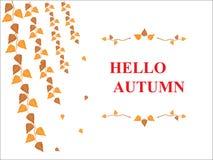 Ciao scrittura di caduta di autunno Fotografie Stock Libere da Diritti