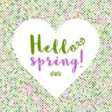 Ciao siluetta del fondo del punto dell'iscrizione della primavera di cuore Fotografia Stock