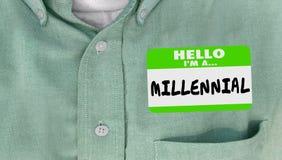 Ciao sono un autoadesivo millenario del Nametag della generazione Y immagini stock libere da diritti