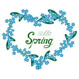 Ciao struttura del cuore del nontiscordardime della primavera illustrazione di stock