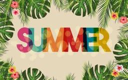 Ciao struttura di marca di estate con la flora e le foglie di palma botaniche Illustrazione di vettore Fotografia Stock Libera da Diritti