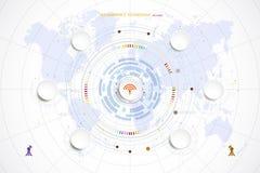 Ciao-tecnologia di tecnologia di cronologia del modello di Infographic digitale ed inglese Fotografia Stock