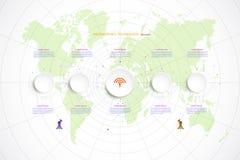 Ciao-tecnologia di tecnologia di cronologia del modello di Infographic digitale ed inglese Fotografie Stock Libere da Diritti