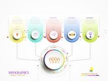 Ciao-tecnologia di cronologia del modello di tecnologia di Infographic digitale ed inglese Fotografia Stock