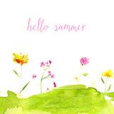 Ciao testo di estate con l'acquerello dipinto a mano Fotografie Stock Libere da Diritti