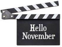 Ciao testo di novembre sull'assicella immagine stock