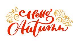 Ciao testo di vettore della stampa dell'iscrizione di autunno con flourish per l'illustrazione minimalistic di giorno di ringrazi royalty illustrazione gratis