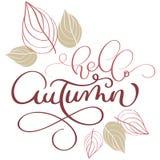 Ciao testo e foglie di autunno su fondo bianco royalty illustrazione gratis