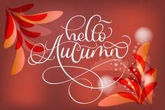 Ciao testo e foglie di autunno su fondo rosso illustrazione di stock