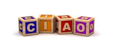 Ciao Text Cube Foto de archivo libre de regalías