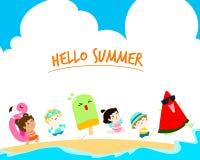 Ciao vettore sveglio multiculturale del modello dei bambini di estate Fotografie Stock