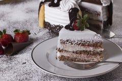 ciasta tła płytkę truskawkowy służyć biały Obrazy Royalty Free