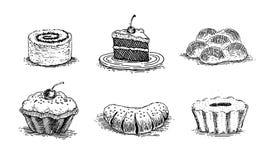 Ciasta, wiśnia tort, waniliowe babeczki, słodka bułeczka, rolki z makowymi ziarnami, babeczka z dżemem, kawałek tort na spodeczku royalty ilustracja