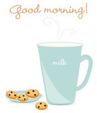 ciasteczka mleka ilustracji