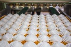 Ciasteczko fabryki linia produkcyjna Zephyr, marshmallows i kremowego róży manufactory wypiekowa maszyna Zdjęcie Stock