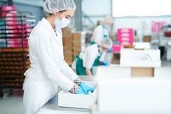 Ciasteczko pracownika kładzenia fabryczny pergamin w pudełko fotografia royalty free