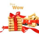 ciastek łęku psa czerwony biel zawijający Obraz Royalty Free