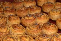 Ciastko, ciastko funda z cynamonem tworzył w brezel kształta świeżym piec w piekarniku Fotografia Royalty Free