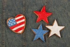 Ciastko z Amerykańskimi patriotycznymi kolorami Obrazy Stock