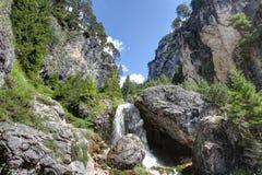 Ciastlins瀑布, val de Ciastlins,白云岩, Sudtirol 库存照片