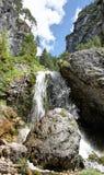 Ciastlins瀑布, val de Ciastlins,白云岩, Sudtirol 免版税图库摄影