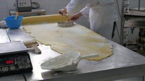 Ciasto ciie od prześcieradła w przemysłowej piekarni zdjęcie wideo