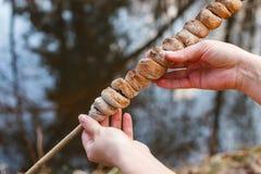 Ciasto na kiju gotującym na ogieniu w lesie w rękach dziewczyna zdjęcia royalty free