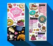 Ciasto sklepu menu cukierniany szablon Kolorowa loga projekta etykietka, emblemat ręka patroszony wektor royalty ilustracja