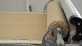 Ciasto skręt wewnątrz stacza się wokoło specjalnego wyposażenie na konwejerze w piekarni fabryce zdjęcie wideo
