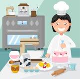 Ciasto szef kuchni dekoruje tort Obrazy Stock