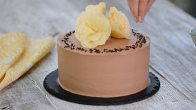 Ciasto szef kuchni dekoruje tort z czekolad? zbiory wideo